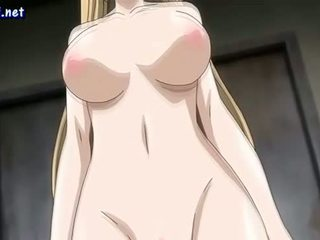 Busty anime blonde gets her cunt gangbanged
