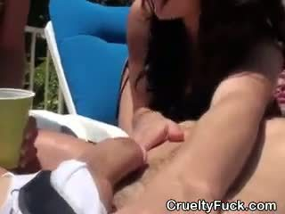 brunette thumbnail, online pijpbeurt seks, kwaliteit gangbang tube