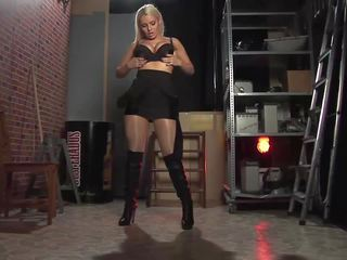 Shiny Pantyhose and High Black Boots, HD Porn 1f
