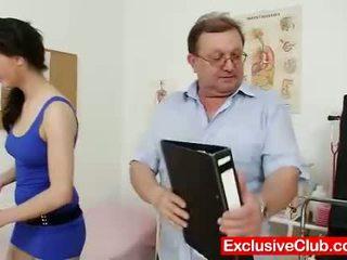 gapende, kijken vagina mov, dokter tube