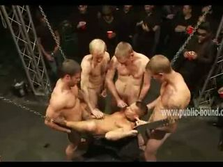 Hunk with leather leish in dirty gay sex