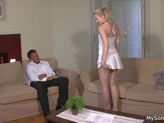 His Blonde Girl Rides Old Dad's Cock, HD Porn ce