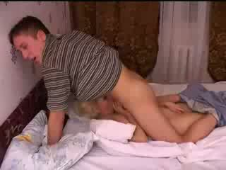 Mom and son fucks at home until father at work