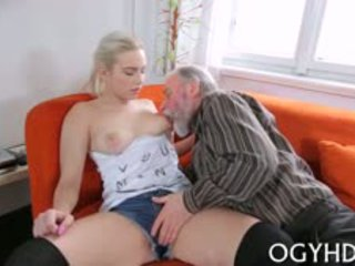 Beautiful Young Lady Gets Licked By Avid Old Fucker