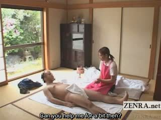 Subtitled cfnm hapon caregiver elderly man pagtatalik na pangkamay