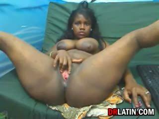 grote borsten porno, solo actie, nieuw zwart en ebony scène