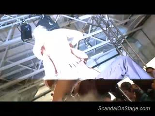 Scandal on stage babe dildoing