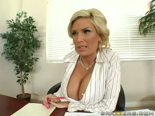 Amazing blonde milf with huge boobs teasing a guy