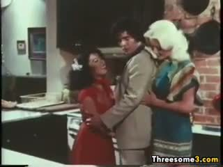 Old School Threesome In The Kitchen