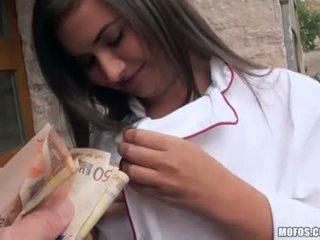 Czech girl in uniform analyzed for cash
