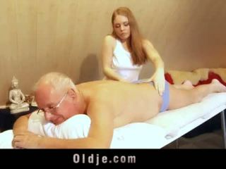 "Old man fucks young blonde masseuse cums in her mouth <span class=""duration"">- 6 min</span>"