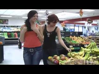 Rita and Madeline hot lesbian couple kissing in public and undressing and toying pussy outdoors