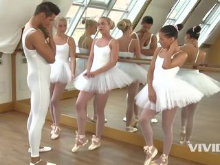 3 slutty ballerinas end up sucking and fucking the instructor