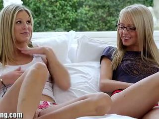 Webyoung Teen Blondes Experiment with Lesbian Licking