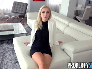 Propertysex - горещ блондинки реален estate agent fucks богат