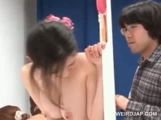 Delicate Asian Puts Condom On Cock In A Sex Contest