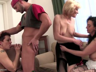 Four Old Bitches Suck and Fuck One Young Cock: Free Porn d0