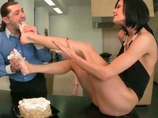 voedsel actie, kwaliteit voeten neuken, controleren tenen
