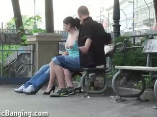 Cute young girl in PUBLIC threesome sex
