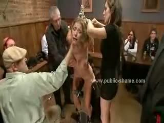 Large breasts horny whore tied with hands up forced to be sex slave in extreme sado maso