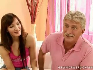 Pretty teen fucking with older man