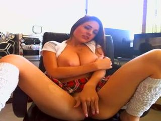 Busty babe with big boobs teases on web cam