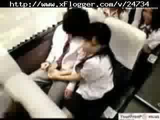 Asian Schoolgirl Hot Handjob in Bus