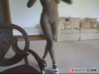 Petite Black Teen Girl Teases Her Body