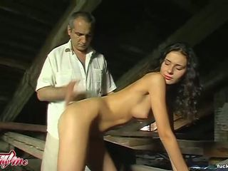 Sexy busty brunette gets pounded by mature dick