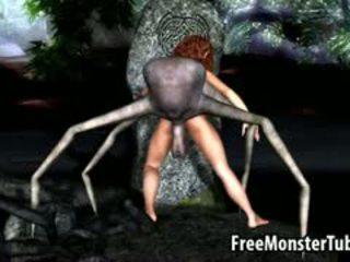 ३डी कार्टून ब्रुनेट बेब गड़बड़ द्वारा an एलीयन spider