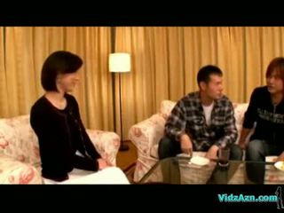 Asian girl getting her nipples sucked fingered by 2 guys on