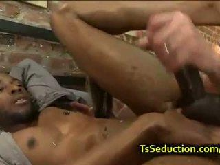 Blonde tranny fucks black dude in bed