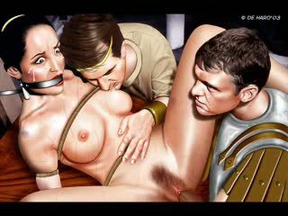 Big titted brunette gets abused in sexy comic