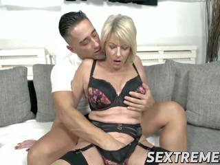 Busty Mature Babe with Pussy Piercings Fucks Younger...