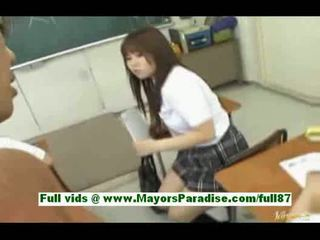 Young asian schoolgirl in the classroom gets a blowjob a tit