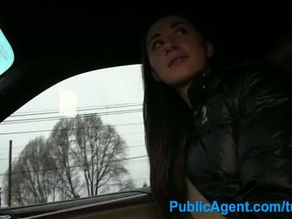 Publicagent bayan in the mobil with a hitch hiker