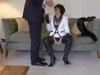 Smoking Leather MILF in Thigh Boots Sucks and Fucks...