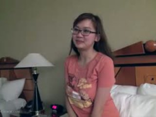 Cute Busty Asian Girlfriend Fngers In Glasses