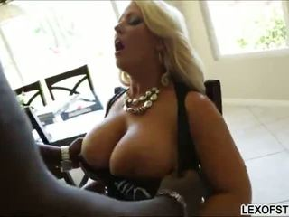Busty blonde Alura Jenson gets her large boobs stroked and humped