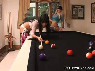 2 Pretty Lesbians Kitten And Molly Play Billiards