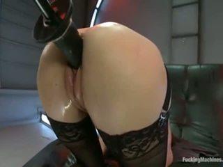 brunette, squirting, fucking machine