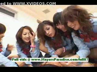 Horny asian schoolgirls in the classroom