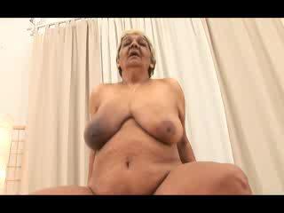 Big titted horny GILF granny blows dud...