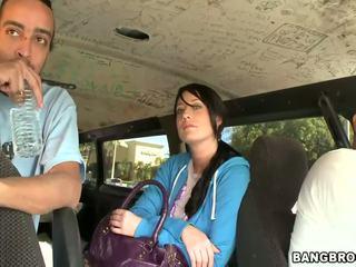 Slutty brunette hottie gets banged in the Bang Bus