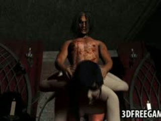 3D Brunette Babe Getting Fucked Hard By A Vampire