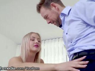 Hot Blonde Office Babe Heard He Has a Big Dick