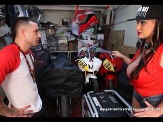 Angelina castro takes cumload en bike garage!