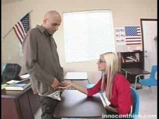 Skinny slut fucks the teacher
