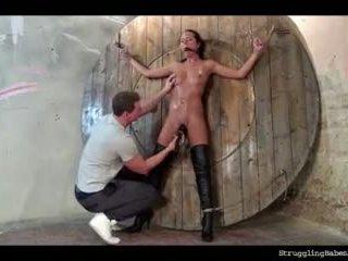 Mia bound spread-eagle ballgagged slowly vibed to orgasm