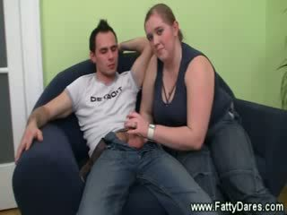 Hungry bbw gets mouthful of cock from lucky guy